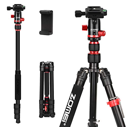 ZOMEi M5 Camera Tripod Lightweight Travel Tripod 2 in 1 Portable Camera Tripod Stand with 360 Degree Ball Head, Remote Bluetooth and Phone Clip for Cameras, Smartphone