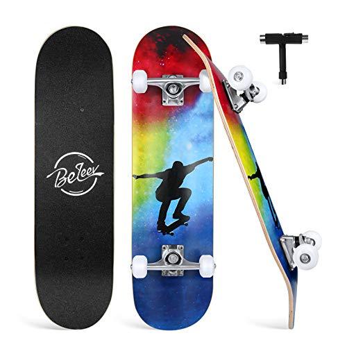 BELEEV Skateboard 31x8 Zoll Komplette Cruiser Skateboard für Kinder Jugendliche Erwachsene, 7-Lagiger Kanadischer Ahorn Double Kick Deck Concave mit All-in-One Skate T-Tool für Anfänger (Nebulae)