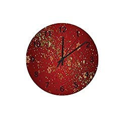 Hapuxt Silent Wooden Wall Clock12 Non Ticking Christmas Winter Sky Battery Operated Clock Creative Fashionable Home Decor for Kitchen Office School Living Room