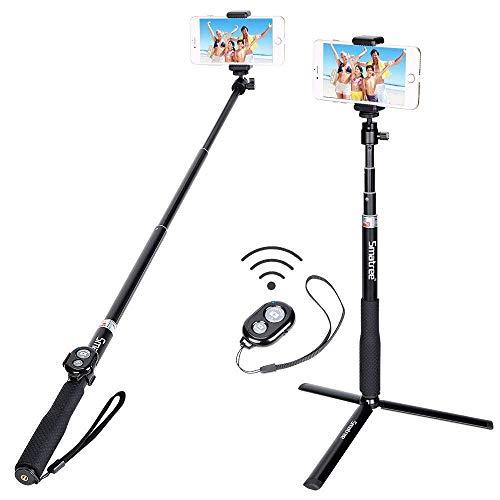 Smatree Bastone Selfie Stick e Telecomando Bluetooth con treppiede Compatibile con Fotocamera Gopro Hero2018/10/9/8/7/6/5/4/3/2/1, Fotocamere Ricoh Theta S, M15,DJI OSMO Action, e Smartphone