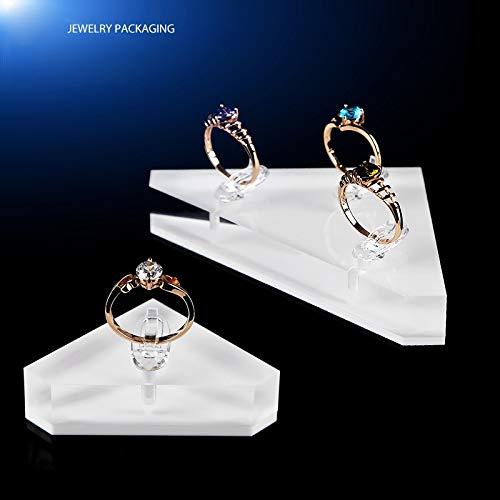 2020 YXWEI Moda acrílico Cristal triángulo Anillo Anillo Anillo Pantalla Anillo Anillo Caja de Anillo Caja de joyería Soportes de joyería (Color : Black, Size : S)