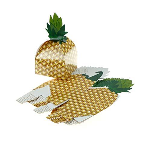 Geschenktassen & wikkelbenodigdheden - 12 stks Hawaiian Pineapple Party Snoepdozen Decoraties Snoepjes en Papieren Doos Decoratief Geschenk - Ananas Paarse Tassen Decor Ananas Doos Snoep Piramide Kaart Kraf