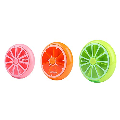 Morepack Small Cute Weekly Pill Box 7 Day Pill Case, Pink, Green, Orange (3 Pcs)