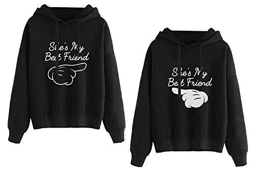 Mixcept Best Friends Hoodie für 2 Mädchen Sister Pullover Set für Zwei Damen BFF Kapuzenpullover Beste Freunde Sweatshirt Pulli Geschenke, 2 Stück