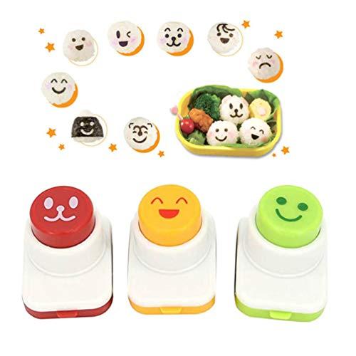 Hemoton 3 Stücke Lächeln Gesicht Kunststoff Waschbar DIY Sushi Roll Reis Ball Onigiri Form für Sushi Machen Laver Schneiden