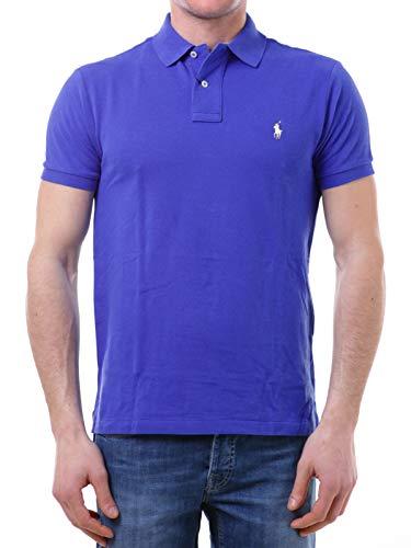 Photo of Polo Ralph Lauren Mod. 710536856 Polo Shirt Mesh Short Sleeves Slim Fit Man Light Blue L