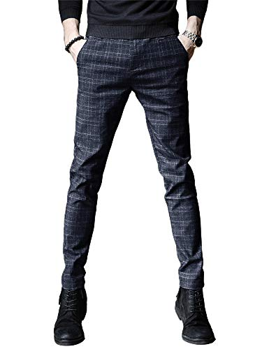 IDEALSANXUN Mens Stretch Slim Fit Plaid Tapered Leg Dress Pants(Blue, 28)