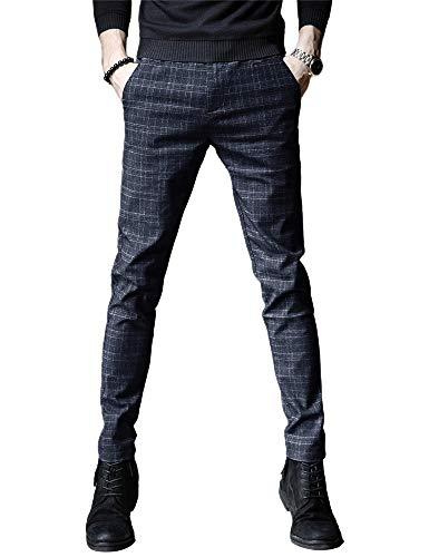 IDEALSANXUN Mens Stretch Slim Fit Plaid Tapered Leg Dress Pants(Blue, 28)