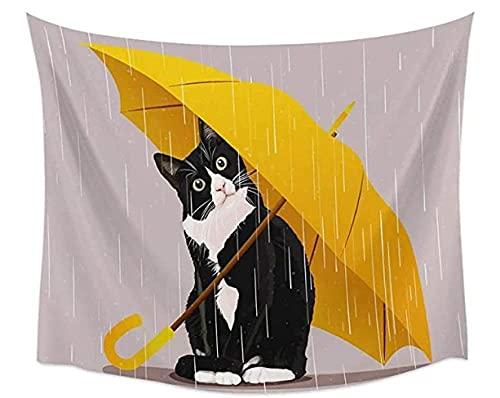 NC117 Tapiz de Arte para Colgar en la Pared Lindo Gato Negro Tapiz Arte Tapiz de Pared decoración Dormitorio y Sala de Estar 60 × 40 Pulgadas