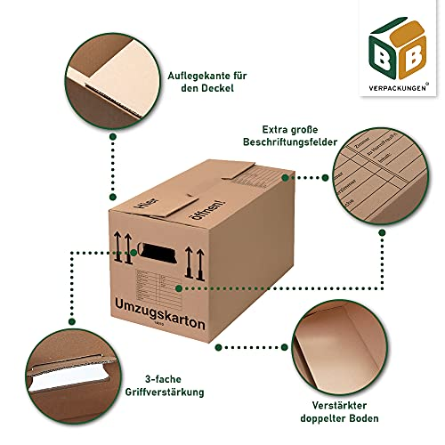 Umzugskartons 10 Stück Profi STABIL 2-wellig von BB-Verpackungen - 2