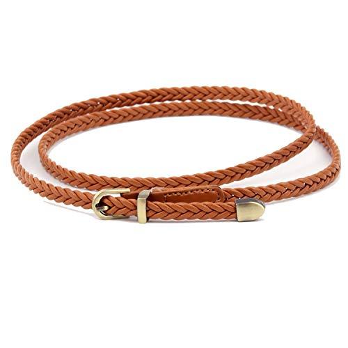 1 Stk Dunne Snoep Kleur Vlechtband Voor Jurk Dames Vrouwelijke Riem Womens Riem Pu Pin Buckle-Camel-size-57