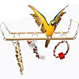 Bird Toys Set Wood Climbing Ladder Bridge Swing 4-Pieces for Parrot Budgie Parakeet Cockatiel Conure Lovebird Finch Canary Cockatoo African Grey Macaw Eclectus Amazon Cage Stand Perch