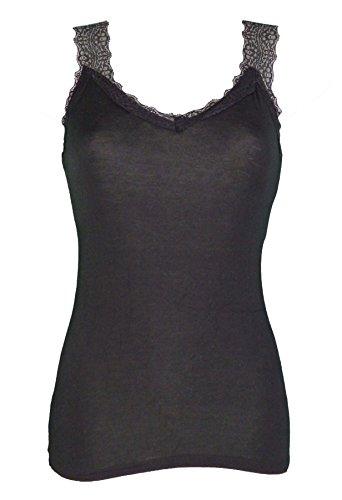 Miss Rouge - Top, camiseta de tirantes de encaje Negro Talla única