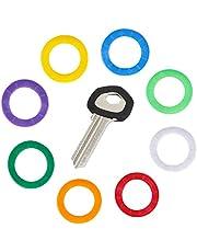 Uniclife 36PCS Key Caps Cubiertas Etiquetas, Anillos de Codificación de Identificación de Llave de Plástico en 9 Colores Diferentes