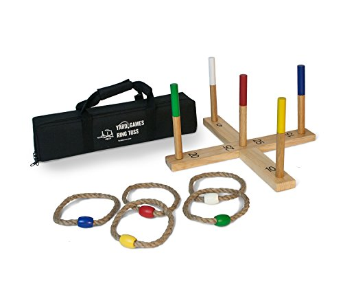 Yard Games Ring Toss Game Premium Set with Finished Wood and Durable Carrying Case