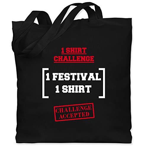 Festival - 1 Shirt Festival Challenge - Unisize - Schwarz - jutebeutel festival - WM101 - Stoffbeutel aus Baumwolle Jutebeutel lange Henkel