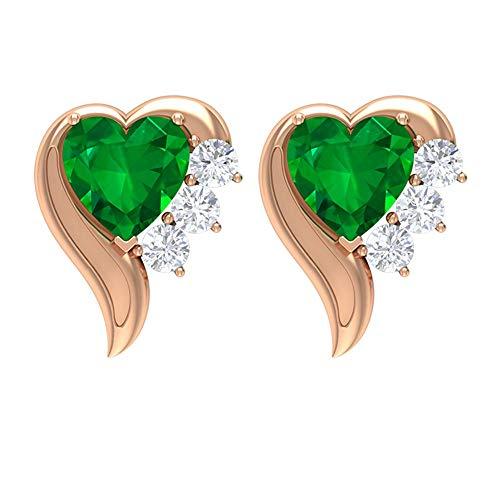 Rosec Jewels 585 oro rosa corazón redonda Green Emerald Diamond