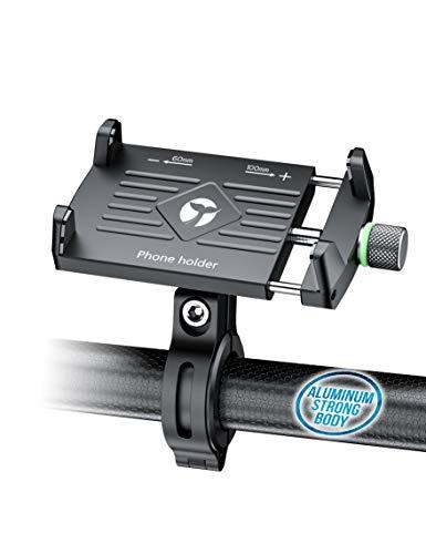 Orcas - Soporte para teléfono de bicicleta de aluminio, 360º para teléfonos de 3,5 a 7 pulgadas, aleación de aluminio giratoria ajustable para iPhone Samsung Huawei Xiaomi Pixel 3,5 a 7 teléfonos