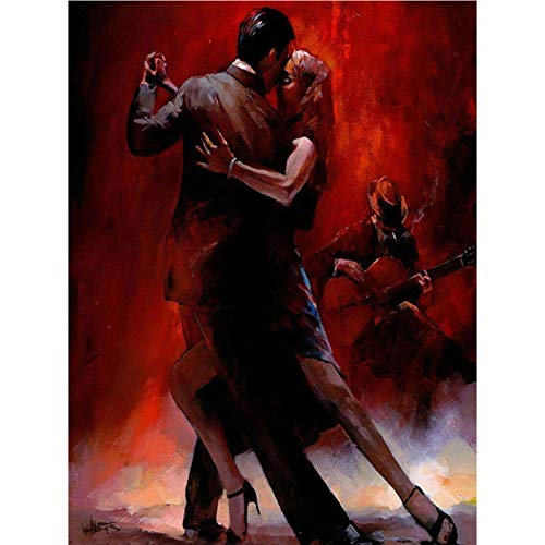 DIY 5D Diamond Painting by Number Kits,Full Round Drill,Diamond Embroidery Painting Cross Stitch Arts Craft Decor Dancing Couple 19.7x27.6 in by Megei