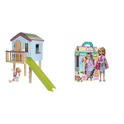 Lottie Dollhouse Wooden Tree House Dolls  Painted In Bright Colours, LT089 & Birthday Girl Doll   Gifts for 6 Year Old Girls & Boys  Fashionista Dolls With Blonde Hair, LT066