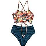ZAFUL Damen Tankini-Set Gepolsterte Bikini Set mit Blattdruck Schnür Tankini Hohe Taille Badeanzug Bikinis Blau Small