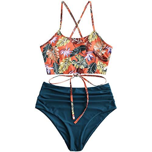 ZAFUL Damen Tankini-Set Gepolsterte Bikini Set mit Blattdruck Schn?¡ì|r Tankini Hohe Taille Badeanzug Bikinis Blau Large