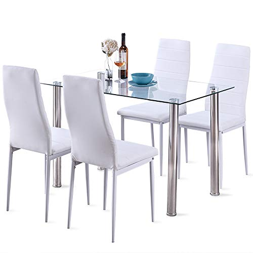 5 Pcs Modern Tempered Glass White Dining Room Table Set with 4 High Back Faxu Leather Dinning Chairs W/Can Opener