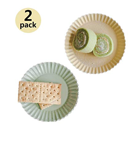 [ 2PACK ] Enamelware Dessert Plate with Rippled Edge, Tea Snack Party Plates for Parties, Enamel Relish Dishes Chip, Appetizer Plates for Cheese, Condiments, Sauce (Yellow Green)