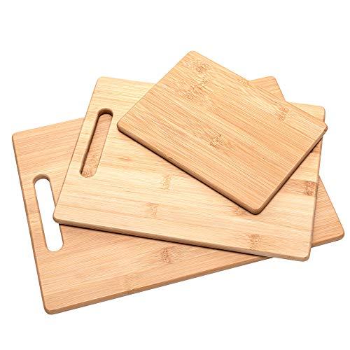 Rubberneck Bambus Schneidebretter 3er Set aus langlebigen Bambusholz, für Gemüse, Fleisch und Käse - 100% biologisch abbaubar