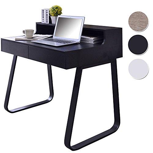 SixBros. Schreibtisch mit Schubladen, Kleiner Designer Tisch in schwarz, Laptoptisch, Sekretär, 90 x 58 cm CT-3532/1227