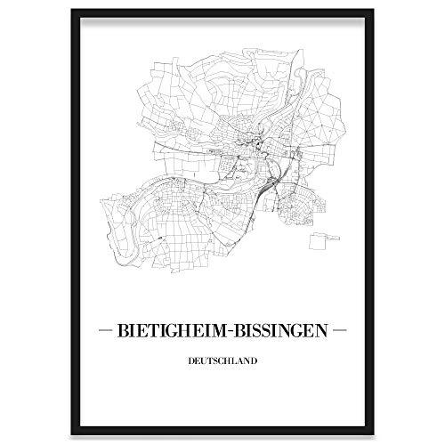 JUNIWORDS Stadtposter, Bietigheim-Bissingen, Wähle eine Größe, 30 x 40 cm, Poster mit Rahmen, Schrift A, Weiß