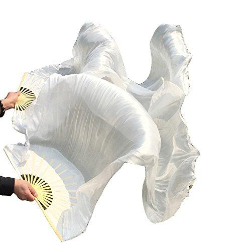 シルクファンベール 2本セット シルク100% ベリーダンス ファンベール シルクファンベール ベール シルク 衣装 扇子 団扇 舞台 小道具 アクセサリー 扇子 団扇 180*90 cm (白)