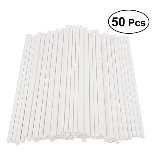 BESTONZON 50pcs palos de papel para tartas palitos para fiesta de cumpleaños DIY Craft Project – blanco