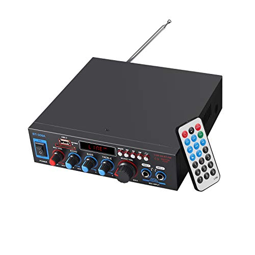 eSynic Amplificador de Estéreo Audio 800w HiFi Bluetooth con Fuente de Alimentación Amplificador de Potencia con Control Remoto USB FM SD TF 12V / 220V con Pantalla LED para el Hogar del Automóvil