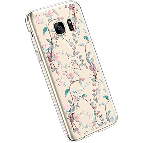 Ysimee kompatibel mit Samsung Galaxy S7 Edge Handyhülle Ultra-Transparente Felxible TPU Silikon Handyhülle Hülle mit Anti-Rutsch Kratzfest Crystal Hülle mit Muster Blumen Design, Blume -20