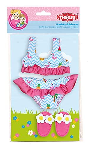 Heless 299 - Schwimm-Set für Puppen, 3 teilig, Bikini mit Badeschläppchen, Flamingo, Größe 35 - 45 cm, für Badespaß an heißen Sommertagen