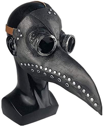 Carolilly Plague Doctor Mask, Halloween Scary Maske Pest-Maske Doktor Arzt Kopfmaske Party Fasching Cosplay Venedig-Maske Karneval - Lange Nase Vogel Schnabel Steampunk Maske(Pu Leder) (One Size, 2)