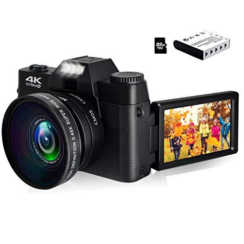 4K Digital Camera Vlogging Camera 48MP Full HD Video Camera with WiFi, Flip Screen Camera with 16X Digital Zoom and 3.0 Inch Flip Screen, Vlog Camera for YouTube (Fixed Focus & 32G Micro Card)