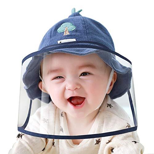 FUFU Sombrero de bebé con protector de polvo desmontable de TPU para bebés y niños, sombrero de cara completa, extraíble y resistente al viento, gorra para exterior (color: azul, tamaño: 0-6 meses)