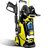 TEANDE Electric Pressure Washer 3800 PSI Smart High Pressure Power Washer 2.8 GPM 1800W Powerful Cleaner Machine with Hose Reel, 4 Nozzles, Touch Screen 3 Gear Level,15 Level Pressure(Yellow)