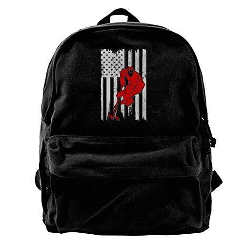 Schultasche Amerikanische Flagge Hockey Leinwand Rucksack Laptop Rucksack Reiserucksack Geschenk Frauen Daypack Lässig Einzigartige Leichte Männer Buch Nette Schule Umhängetaschen