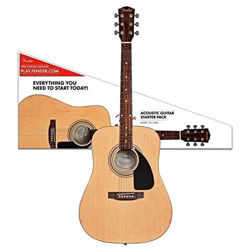 Fender. Fender Acoustic Guitar FA115 Dreadnought Right Handed Guitar With Sponge Bag, Belt, String Set, String Winder & Plectrums Combo Pack (Natural)
