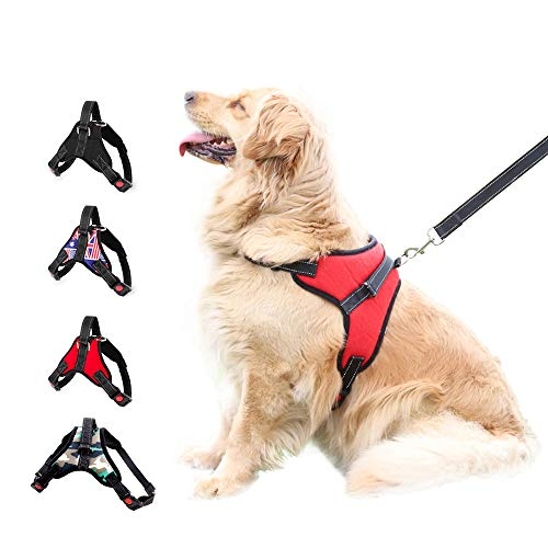 XDgrace Dog Harness No-Pull Pet Harness Adjustable Outdoor Pet Vest 3M Reflective Oxford Material Vest for Dogs Easy Control for Small Medium Large (XL, Flag)