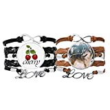 Bestchong Lot de 2 bracelets en cuir avec image de chien blanc souriant et motif de neige