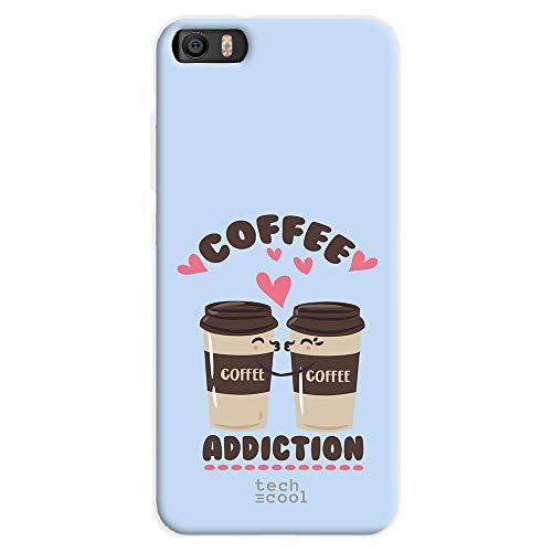 Funnytech Funda Silicona para Xiaomi MI5 [Gel Silicona Flexible, Diseño Exclusivo] Frase Coffee Addiction Azul