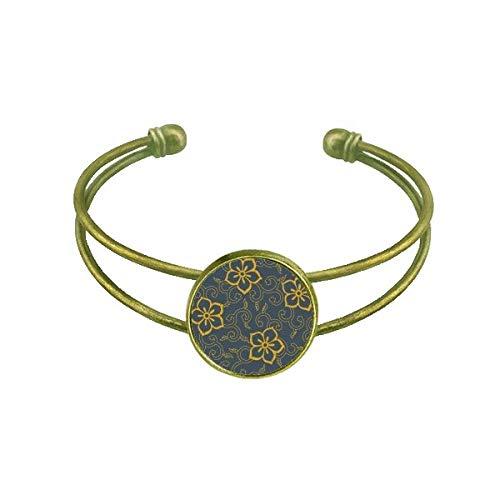 DIYthinker Chinese Japanese Style Asia Leaves Flowers Bracelet Bangle Retro Open Cuff Jewelry