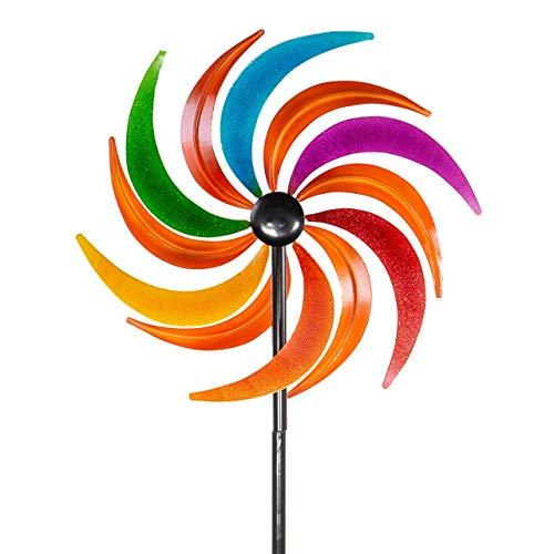 CIM Metall Windrad – Kinetic Spinner - Sichelrad – Abmessung: Ø34cm, Gesamthöhe: 120cm – außergewöhnliche Gartendeko