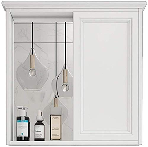 LAMTON Gabinete de gabinete de gabinete de gabinete de gabinete de Espejo de baño Gabinete de Almacenamiento para cosméticos (Color : Blanc, tamaño : 60 * 13.5 * 73cm)
