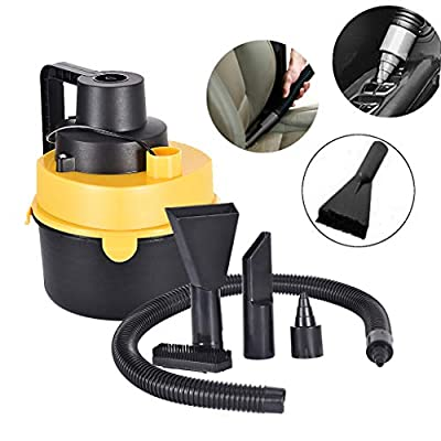 Huaze Portable Car Vacuum Cleaner High Power Corded Handheld Vacuum - 12V - Best Car & Auto Accessories Kit for Detailing and Cleaning Car Interior Wet Dry Vac Vacuum Cleaner (Yellow)