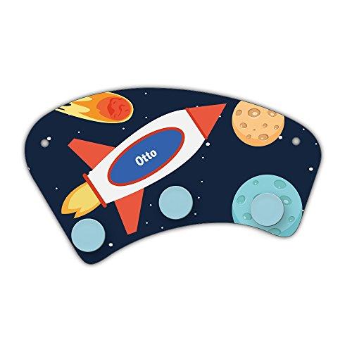 Wand-Garderobe mit Namen Otto und schönem Weltraum-Motiv für Jungen - Garderobe für Kinder - Wandgarderobe